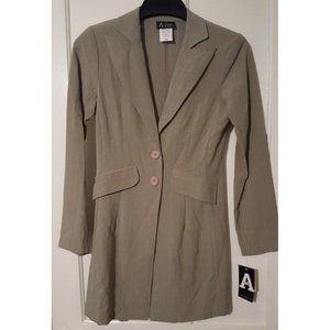 NWT Women's Size 3/4 Green Blazer Long Suit Jacket